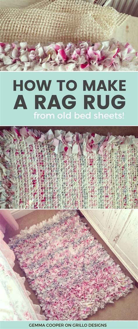 rag rug tutorial no sew how to make a diy rag rug using bedding