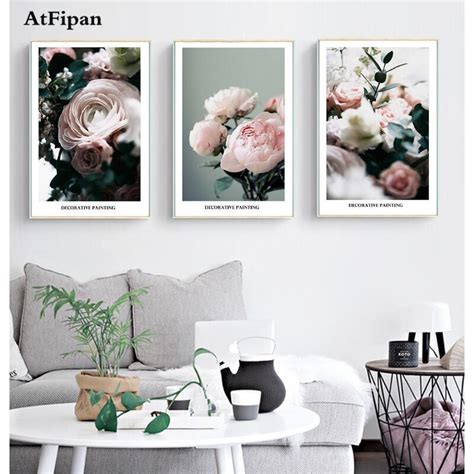 aliexpress buy atfipan 3 panel unframed nordic modern printed flower painting picture
