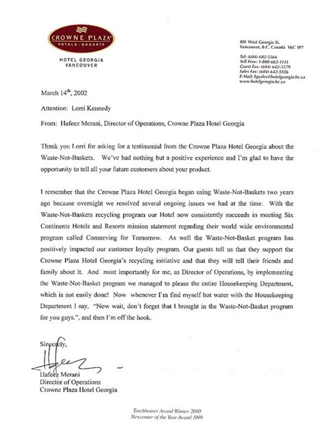 Customer Loyalty Letter Testimonial Text