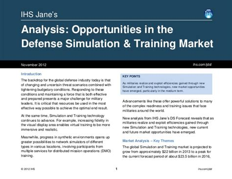 Courses On Marketing 1 by Ihs Analysis Opportunities In The Defense Simulation