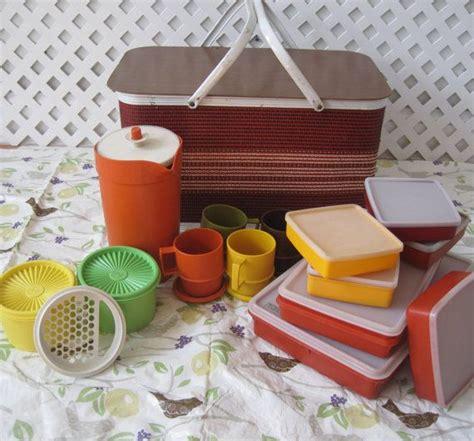 Tupperware Picnic Set complete picnic basket set vintage 70 s retro by
