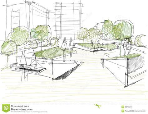sketchbook park architectural sketch of park stock illustration