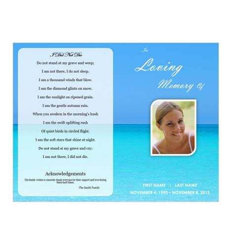 Waterscape 5 Funeral Phlets Memorial Service Program Template Microsoft Word