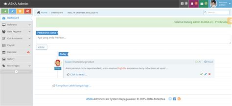membuat menu utama web dengan php administrasi system kepegawaian aska berbasis web dengan