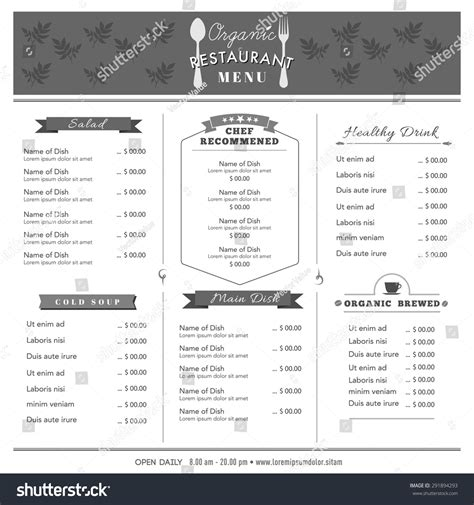 food menu layout design organic food restaurant menu design template stock vector