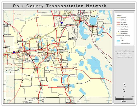 map of lakeland fl polk county road network color 2009