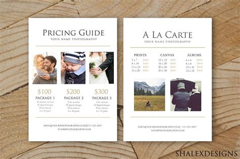 Photography Pricing Guide Template Stationery Templates Creative Market Photography Pricing Template