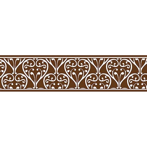brown floral pattern border brown damask clipart