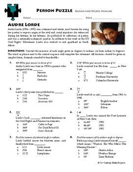 ernest hemingway biography worksheet person puzzle radian and degree measure audre lorde