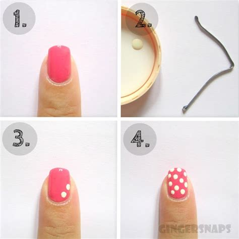 easy nail art tutorial no tools diy easy nail art for beginners polka dots gingersnaps