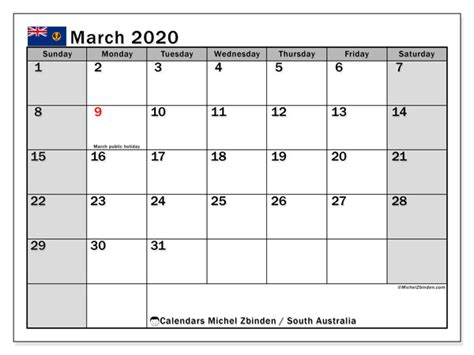 calendars march  public holidays australia michel zbinden en