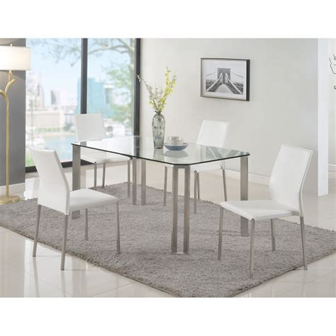 Glass Top Esszimmer Set by Rhonda 5 Pieces Rectangular Dining Set Glass Top