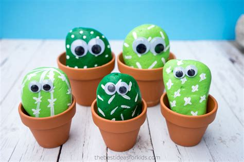 puppy rocks cactus pet rocks family crafts