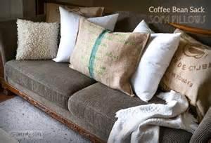 How To Make Sofa Pillows No Sew Burlap Coffee Bean Sack Sofa Pillowsfunky Junk Interiors