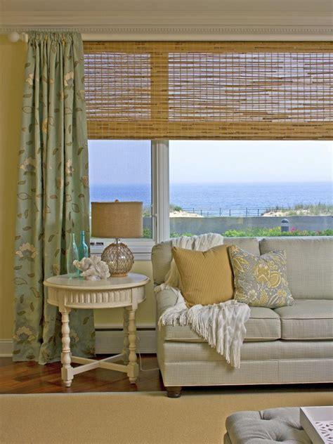 room window treatments coastal living room ideas hgtv