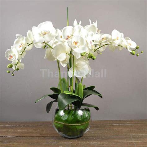 Bunga Palsu Plastik Artifisial 4 artificial orchid phalaenopsis real touch flower 12 heads room decor white ebay