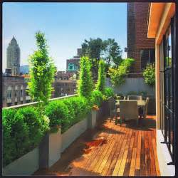 nyc rooftop terrace roof garden deck outdoor dining container plants pots traditional