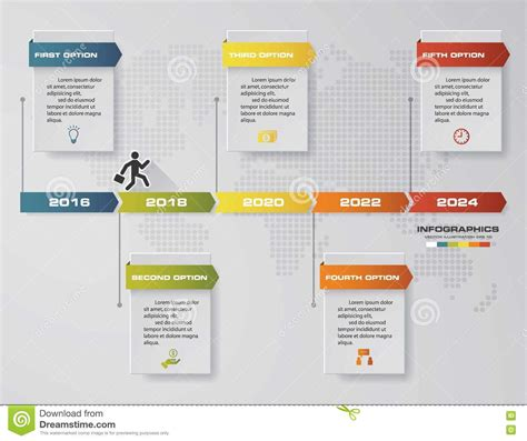 Timeline Infographic 5 Steps Vector Design Template Can Be Used For Workflow Processes Stock Workflow Website Template