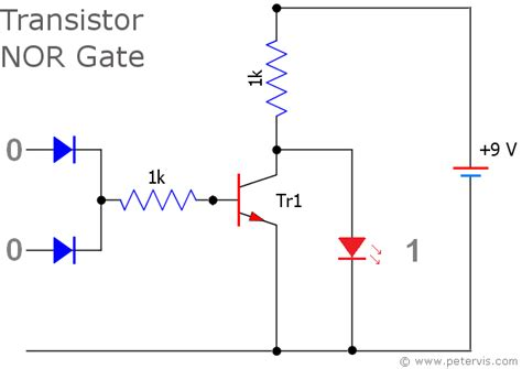 transistor nor gate circuit nor gate using diode and transistor dtl