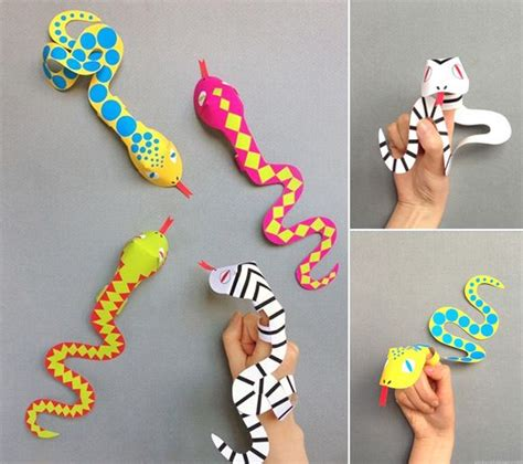 easy animal crafts for printable snake finger puppets are funky and simple
