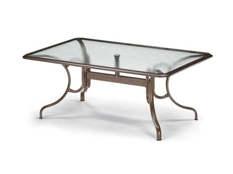 Glass Top Patio Tables Telescope Casual Glass Top 68 X 42 Rectangular Dining Table With Umbrella 3410