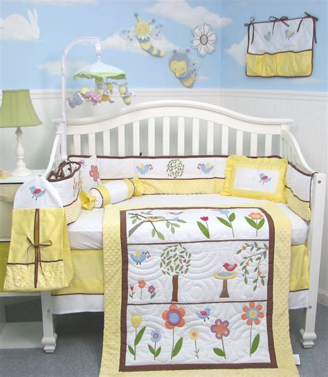 bird crib bedding soho summer bird singing baby bedding yellow baby