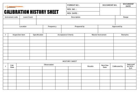 Calibration History Sheet Format Calibration Template Excel