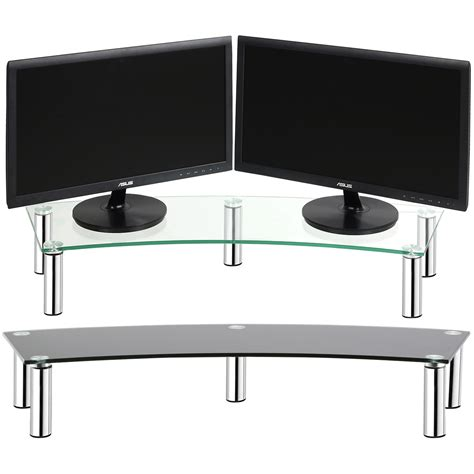 monitor stand cl on glass hartleys curved twin monitor tv double big screen display