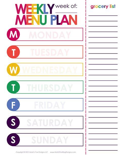 weekly dinner meal planner printable included