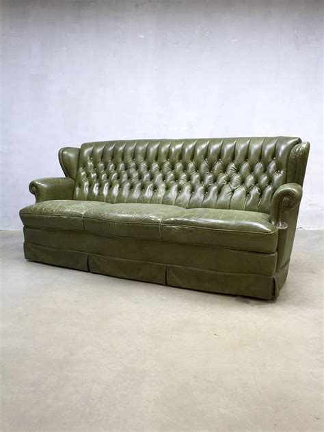 green vintage leren chesterfield lounge bank green leather