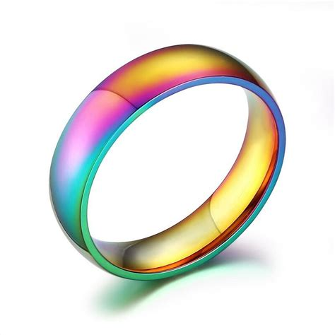 colorful rings rainbow colorful titanium steel rings womens