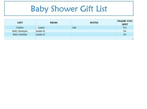 Baby Shower List Of Gifts Template by Baby Shower Gift List My Excel Templates
