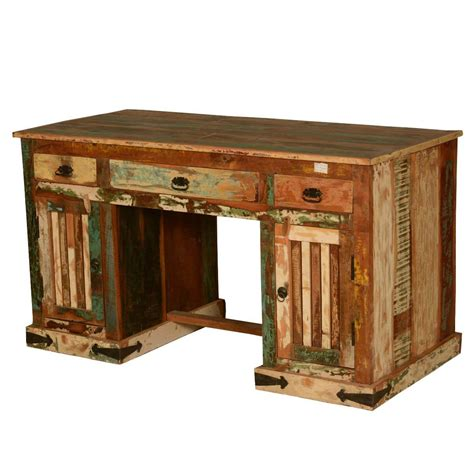rustic pedestal reclaimed wood office desk