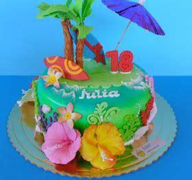bizcocho decorado hawaiano tartas artisticas tarta fondant hawaiana celebraciones