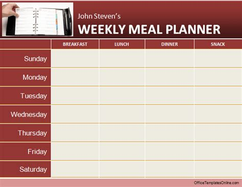 Meal Planner Template Word by Daily Weekly Ms Word Planner Templates Office