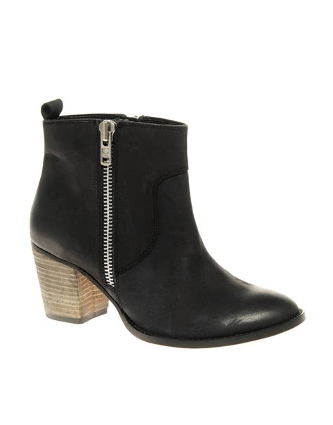 Ankle Zip by Asos Asos Actor Leather Ankle Boots With Zip And
