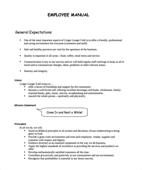 staff manual template sle employee manual 8 documents in word pdf