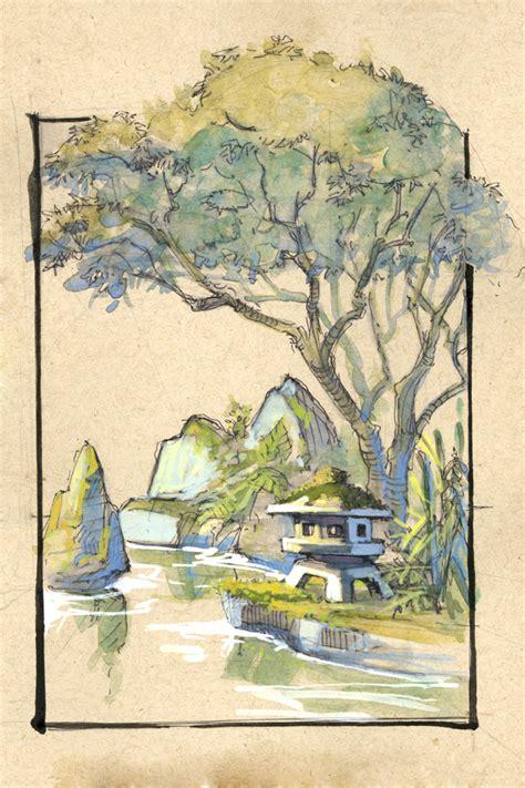 japanischer garten zeichnung david hohn illustration location drawing japanese gardens
