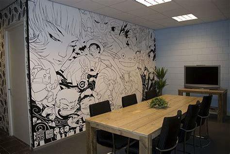 awesome wall mural anime black  white art