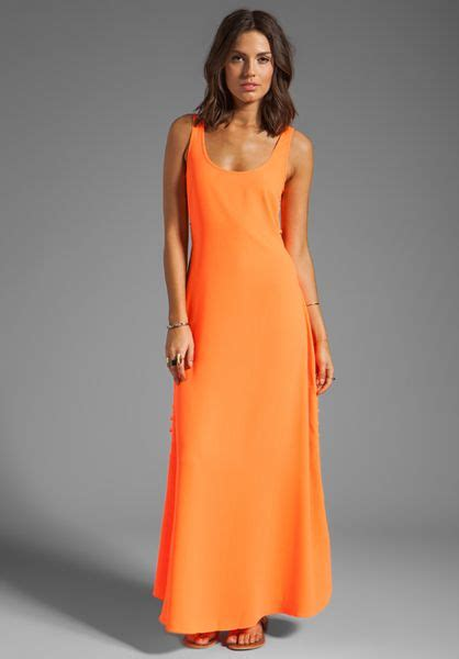maxi claren pink fanta line dot maxi dress in orange in orange fanta orange