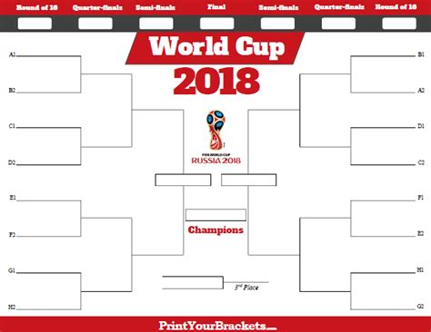 2018 World Cup Qualifiers Calendar World Cup Tournament Bracket Printable Fifa Schedule 2018