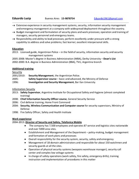 Resume Examples Usa by Ejemplo De Resume Para Security Management Curr 237 Culum