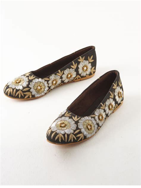 Embroidered Slip Ons buy black faux suede embroidered slip ons by anjali jani