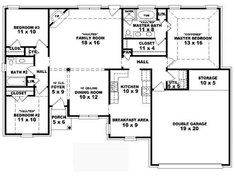 3 4 bath floor plans one story house plans 4 bedrooms