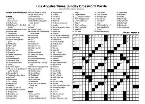 Pdf New York Times Free Mini Crossword by La Times Printable Crossword Puzzles