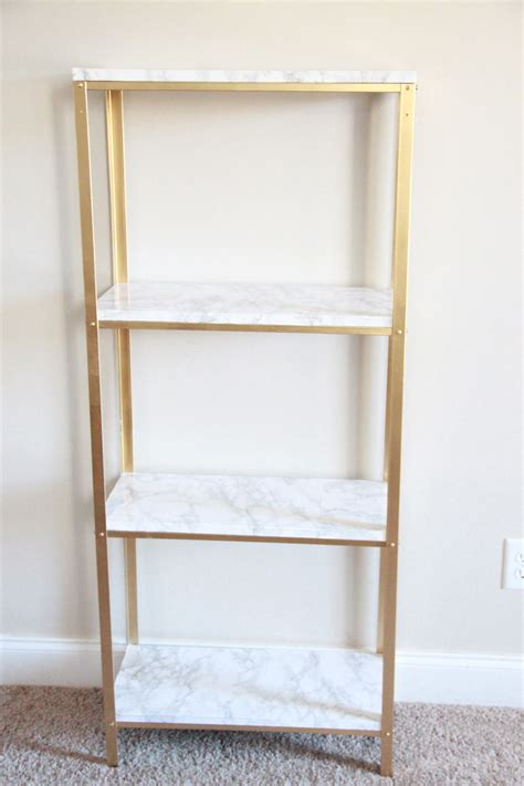 Gold and Marble Ikea Hyllis Hack   Blonde Boss Babe