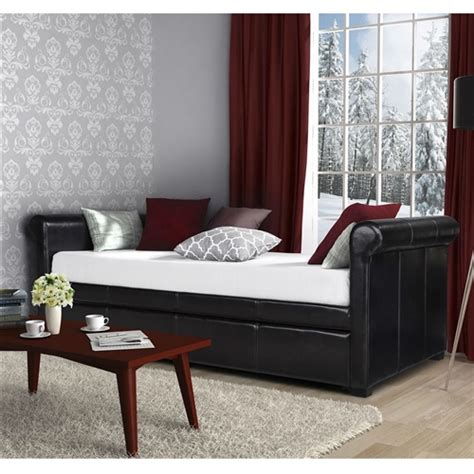twin size brown faux leather upholstered daybed  trundle fastfurnishingscom