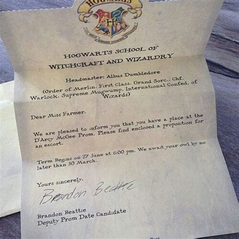 Hogwarts Acceptance Letter Prom prom 10 literary promposals where bookworms just to