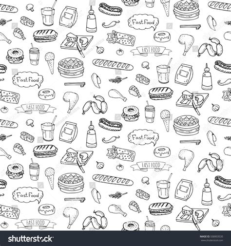 doodle food icons set seamless pattern doodle fast stock vector