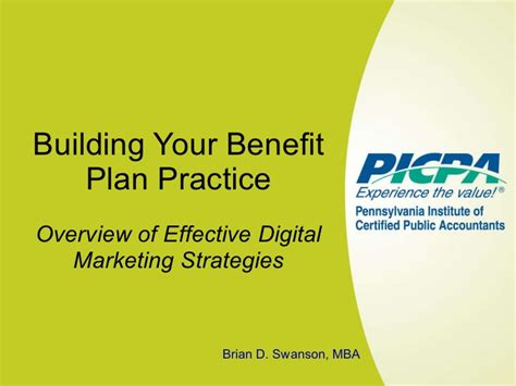 Benefits Of A Marketing Mba by Building Your Benefit Plan Practice